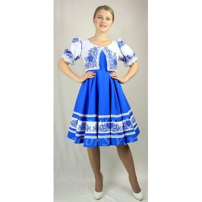 """- """"Платье для танца с рисунком «Кружево». Цвет голубой."""" от производителя DecorSV. (Артикул: РНП-456 )"""