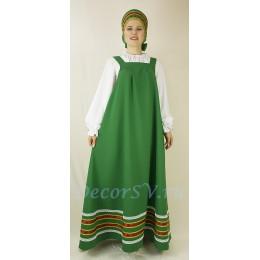 Русский народный сарафан. Цвет зеленый.