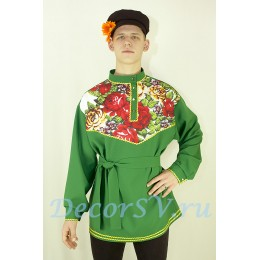 Рубашка русская народная с рисунком в русском стиле. Цвет зеленый.