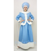 Новогодний костюм Снегурочки: жакет, юбка и кокошник со снежинками.
