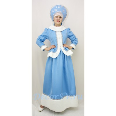 "- ""Новогодний костюм Снегурочки: жакет, юбка и кокошник со снежинками."" от производителя DecorSV. (Артикул: НКС-39/1 )"