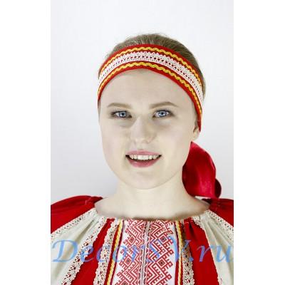 """- """"Повязка на голову красная с плетеной тесьмой."""" от производителя DecorSV. (Артикул: 1К-471 )"""