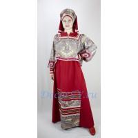 Русский костюм: блузка, юбка с фартуками и головной убор.