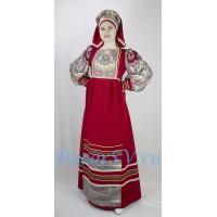 Русский народный костюм: платье с передником и кокошник. Цвет темно-красный.