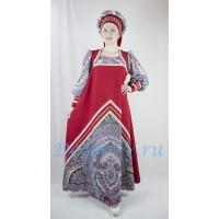 Русский народный костюм: платье и кокошник. Цвет темно-красный.