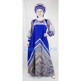 Русский народный костюм: платье и кокошник. Цвет синий.