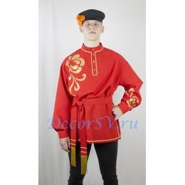 Рубашка мужская народная с аппликацией. Цвет красный.