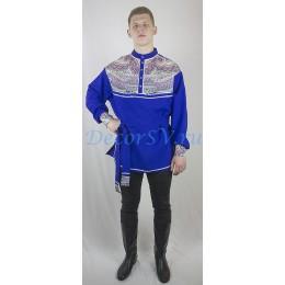 """Рубашка мужская народная с рисунком """"Платок"""". Цвет синий."""