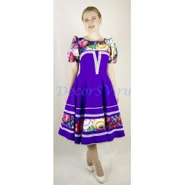 Платье танцевальное в русском стиле с рисунком. Цвет фиолетовый.