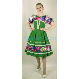 Платье танцевальное в русском стиле с рисунком. Цвет зеленый.