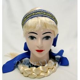 Повязка на голову с бантом синяя.