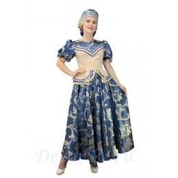 Русский народный костюм. Костюм состоит: блузка, юбка и кокошник на голову. Цвет сине-бежевый