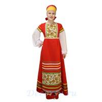 Русский народный костюм: платье с фартуком и повязкой-кокошником. Цвет красный.