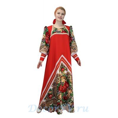 """- """"Русский народный костюм: платье с цветными рукавами и повязка. Цвет красный с белым платком."""" от производителя DecorSV. (Артикул: РНП-223-КБ )"""