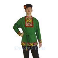 Рубашка мужская народная с рисунком . Цвет зеленый.