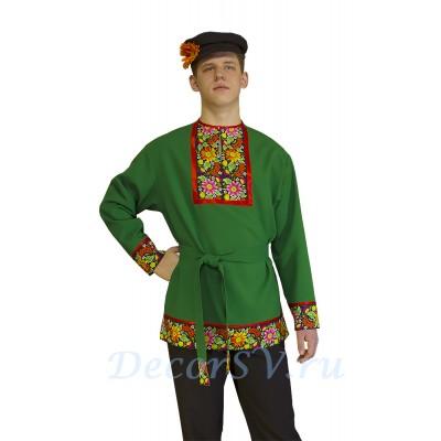 """- """"Рубашка мужская народная с рисунком . Цвет зеленый."""" от производителя DecorSV. (Артикул: МНР-30 )"""