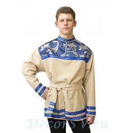 Рубашка мужская народная бежевая с синим жаккардом.