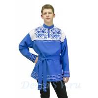 """Рубашка мужская народная с рисунком """"Гжель"""". Цвет светло-синий."""