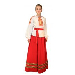 Блузка для русского костюма с красной тесьмой